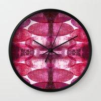 beth hoeckel Wall Clocks featuring Beth pink by FYLLAYTA, surface design,Tina Olsson