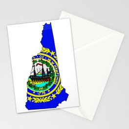 New Hampshire Map with State Flag Stationery Cards