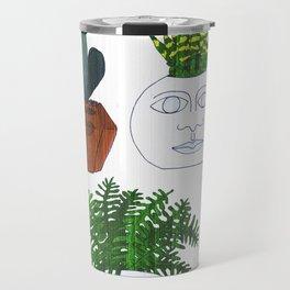 Planter Faces in White Woodgrain Travel Mug