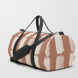 Sherwin Williams Creamy Off White SW7012 Grid Brushstrokes on Cavern Clay SW 7701 Duffle Bag