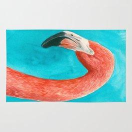 Flamingo watercolor portrait Rug