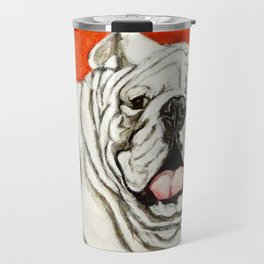 Uga the Bulldog Painting - Red Background Travel Mug