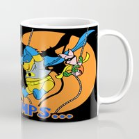 pooh Mugs featuring Bat Pooh! by Purple Cactus