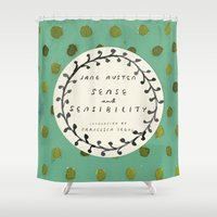 jane austen Shower Curtains featuring Remember Jane Austen (1) - Sense and Sensibility by MW. [by Mathius Wilder]