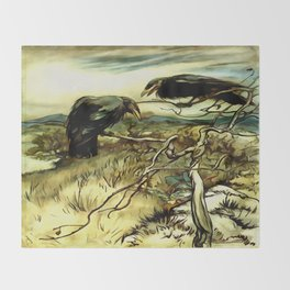 The Two Crows Throw Blanket