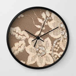 Texture lace fabric. lace on white background studio. thin fabric made of yarn or thread. typically one of cotton or silk, made by looping, twisting, or knitting thread in patterns Wall Clock