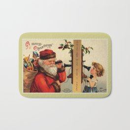 Vintage Santa with child and old telephone Bath Mat