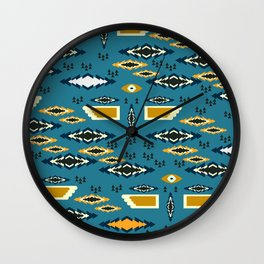 Little ethnic shapes in blue Wall Clock