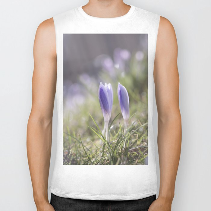 Crocuses at early backlight - Blue flowers - flower Biker Tank