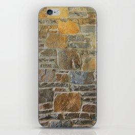 Avondale Brown Stone Wall and Mortar Texture Photograph iPhone Skin