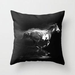 Galloping Pinto Horse Throw Pillow