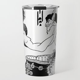Cul de Lampe - By Aubrey Beardsley - Vintage Art Nouveau Print Travel Mug