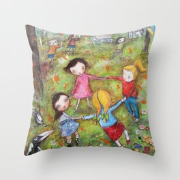 Autumn Mistral, playing ring-a-ring-a-rosie on a windy day Throw Pillow