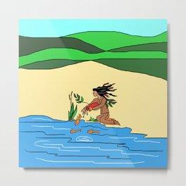 Native American Protecting Nature Metal Print