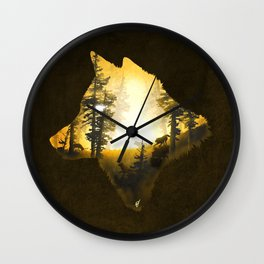 Yellow Wolf Wall Clock