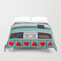 video game Duvet Covers featuring Video Game Lover : NES by The Geek Inside Me