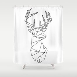 Geometric Stag (Black on White) Shower Curtain