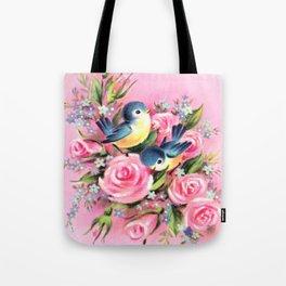 Spring Birds & Roses Tote Bag
