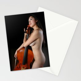 0205-JC Nude Cellist with Her Cello and Bow Naked Young Woman Musician Art Sexy Erotic Sweet Sensual Stationery Cards