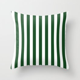 Large Forest Green and White Rustic Vertical Beach Stripes Throw Pillow