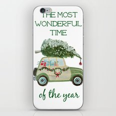 Vintage Christmas car with tree green iPhone & iPod Skin