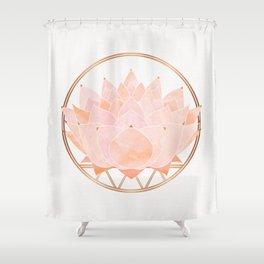Blush Zen Lotus ~ Metallic Accents Shower Curtain