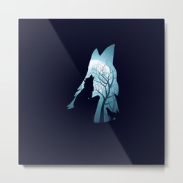 Blue moon and wolf howling Metal Print
