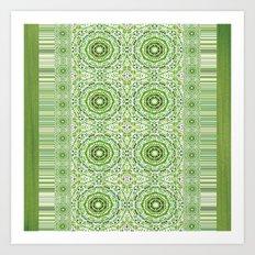 Green Denim Mandalas Art Print