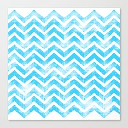 Maritime Aqua Teal Chevron Herringbone ZigZag - Mix & Match Canvas Print
