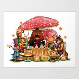 Autumn Time Tea Party Art Print