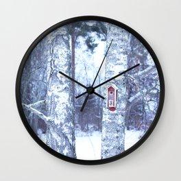 Red Bird House in Winter White Scene #decor #society6 #buyart Wall Clock
