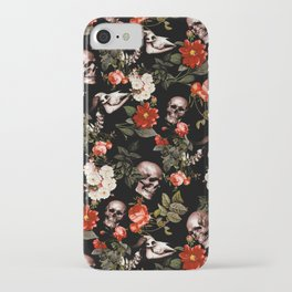 Floral and Skull Dark Pattern iPhone Case