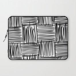 Modern Square Black on White Laptop Sleeve