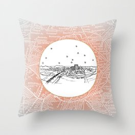 Chattanooga, Tennessee City Skyline Illustration Drawing Throw Pillow