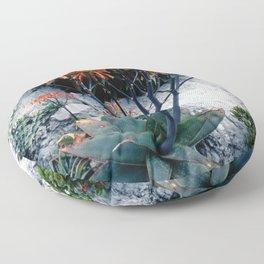 Succulent Garden Coral Orange and Green Floor Pillow