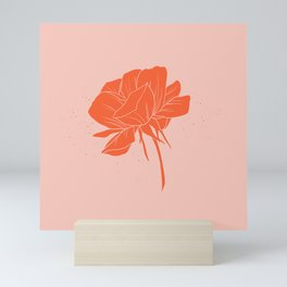 Red-Orange Peony Mini Art Print