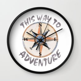 Adventure This Way Wall Clock