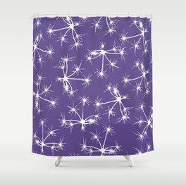 Floral Fireworks - Ultra Violet Botanical Pattern Shower Curtain