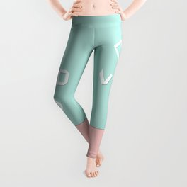 Paper love on mint green Leggings