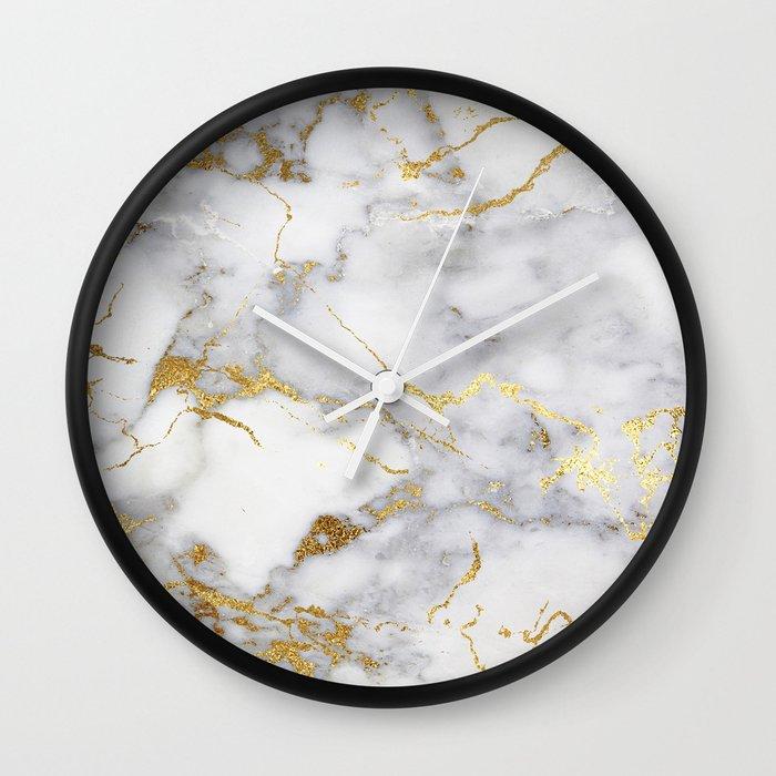 Italian gold marble Wall Clock by hunterofwoods | Society6