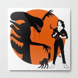 Alien Cartoon Style - Orange Metal Print