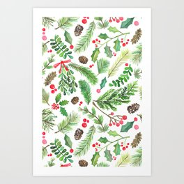 Lovely Christmas Greenery Art Print