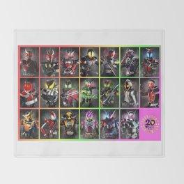 Kamen Rider Heisei Era Main Riders 20th Anniversary Throw Blanket