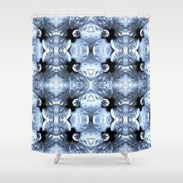 Shiny Blue Flower Design, Pattern Shower Curtain