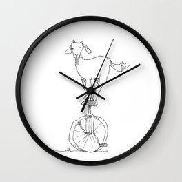 Goat on a unicycle Wall Clock