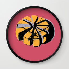 Blue cheese in pink art print Wall Clock