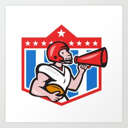 American Football Quarterback Bullhorn Cartoon Art Print