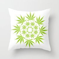 cannabis Throw Pillows featuring Cannabis Leaf Circle (White) by The Image Zone