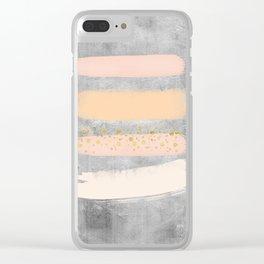 Pastel Stripes on Concrete Clear iPhone Case