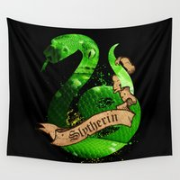 slytherin Wall Tapestries featuring Slytherin by Markusian